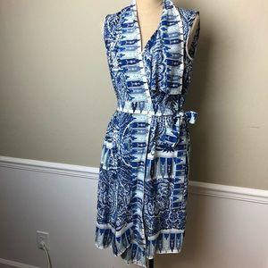 BCBG silk asymmetric collar faux wrap dress